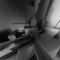 Obrazy i plakaty 3d modern abstract black background, urban blocks
