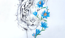 Sketch of a tiger's head in flowers on a white background.