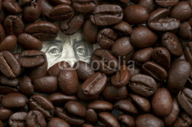 Coffee beans on one hundred dollars