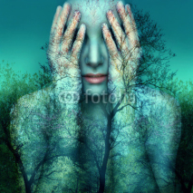 Fototapety Girl and nature in blue