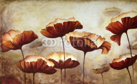 Naklejki Painting poppies canvas