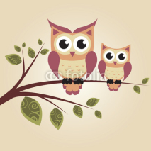 Fototapety Two owls on the tree