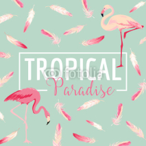 Fototapety Tropical Bird. Flamingo Background. Summer Design. Vector. T-shirt Design