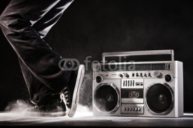 Obrazy i plakaty Retro ghetto boom box, dust and dancer isolated on black with cl