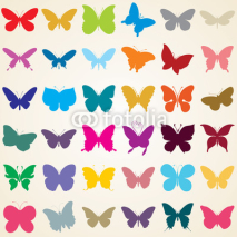 Fototapety butterflies silhouettes, set of various shaped butterfly