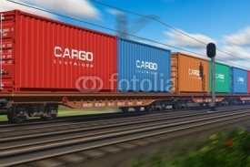 Fototapety Freight train with cargo containers