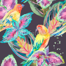 Naklejki Watercolor Parrots .Tropical flower and leaves.