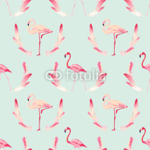 Fototapety Flamingo Bird Background. Retro Seamless Pattern. Vector Feather