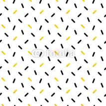Cute black and gold confetti, geometric seamless pattern background.