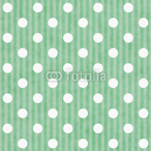 Obrazy i plakaty Green and White Polka Dot and Stripes Fabric Background
