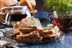 Naklejki Slices of bread with baked pate