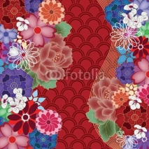 Obrazy i plakaty colorful oriental background with big peony flowers