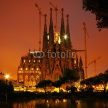 Naklejki Color toned night image of Sagrada Familia