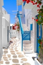 Fototapety Beautiful white streets of Mykonos, Greece