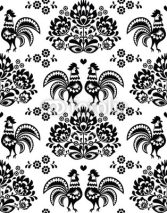 Fototapety Seamless Polish, Slavic black folk art pattern with roosters