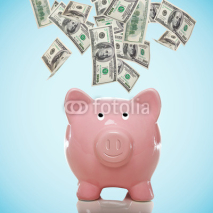 Fototapety Piggy bank with hundred dollar bills
