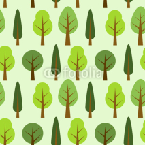 Naklejki Cute seamless pattern with various trees