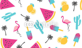 Summer pattern. Watermelon with cactus. Vector illustration