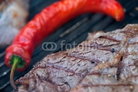 Naklejki Close up of seasoned grilled steak, shallow DOF