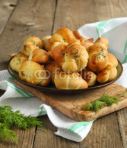 Fototapety Garlic bread buns seasoned with dill