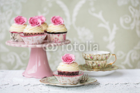 Fototapety Afternoon tea with rose cupcakes