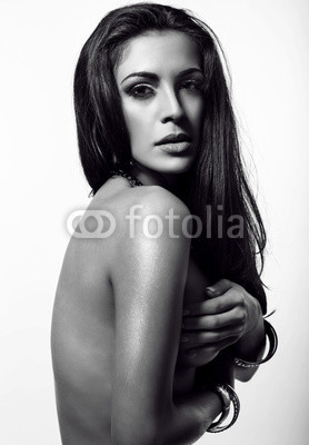 black and white portrait of sexy woman with naked back