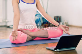 Fototapety Yoga with virtual instructor