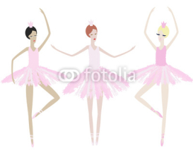 Obrazy i plakaty Three graceful ballerinas dance in identical dresses