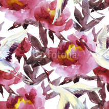 Naklejki Hand painted watercolor peonies and crane birds