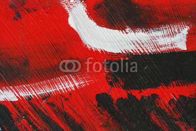 Small part of painted metal wall with  black,red and white paint