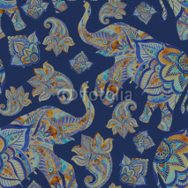 Watercolor ethnic elephant with paisley elements background.