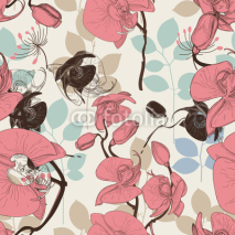 Naklejki Retro pattern flower orchid vector