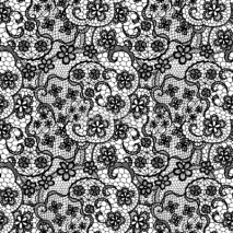Naklejki Lace black seamless pattern with flowers on white background