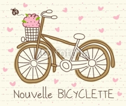 Fototapety vector cute bicycle with basket