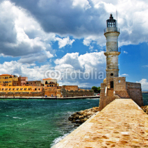Obrazy i plakaty lighthouse in Chania port, Crete, Greece