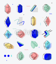 Obrazy i plakaty Set of space objects crystals with geometric shapes.