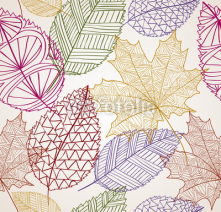 Fototapety Vintage autumn leaves seamless pattern background. EPS10 file.