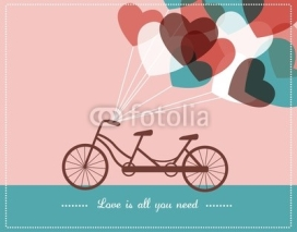 Obrazy i plakaty Valentine's card with tandem bicycle