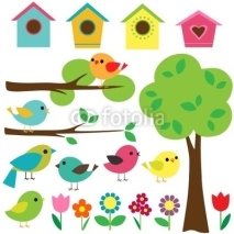 Fototapety Set birds with birdhouses, trees and flowers.