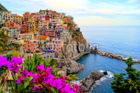 Naklejki Cinque Terre coast of Italy with flowers