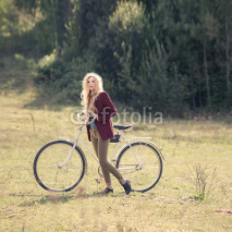 Fototapety hipster girl and bicycle