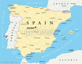 Fototapety Spain political map with the capital Madrid, national borders, most important cities, rivers and lakes. English labeling and scale. Illustration on white background. Vector.