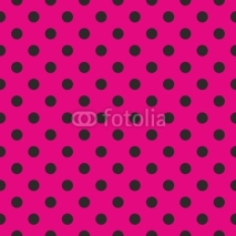 Obrazy i plakaty Seamless vector pattern black polka dots pink background