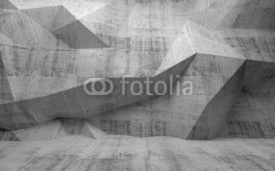 Obrazy i plakaty Abstract dark concrete 3d interior with polygonal pattern on the