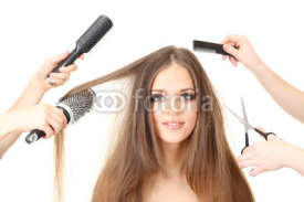 Obrazy i plakaty Woman with long hair in beauty salon, isolated on white