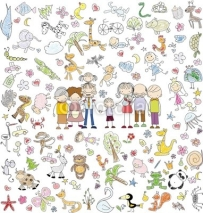 Obrazy i plakaty Vector children's doodle of happy family