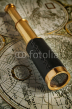 Naklejki Ancient brass telescope
