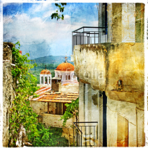 Obrazy i plakaty Greek streets and monastries-artwork in painting style