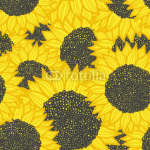 Naklejki color seamless sunflower pattern. Vector illustration
