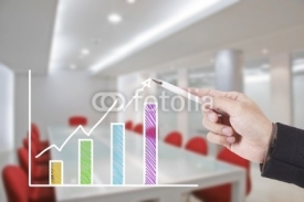Fototapety hand writing graph in conference room
